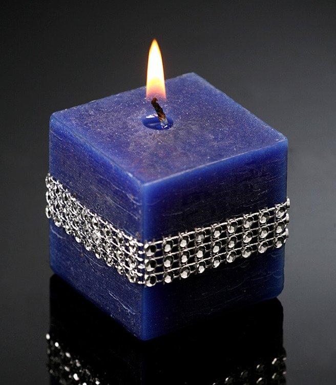 rustikale kerze mit diamanten marineblau 50 50 mm kerzen. Black Bedroom Furniture Sets. Home Design Ideas
