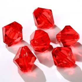 Acrylic diamonds with slot 24pcs/pkg red