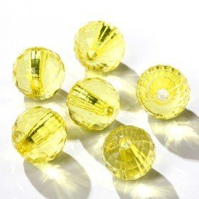 Acrylic round diamonds with slot 24pcs/pkg yellow