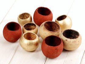 Bell cup, 9 pcs/set, Brown-Natural-Gold