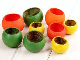 Bell cup, 9 pcs/set, green-yellow-orange
