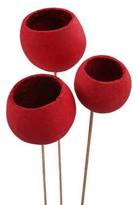 Bell cup on stick, 12 pcs/pkg, red