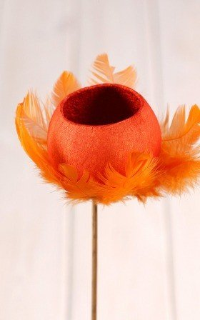 Bell cup on stick with feathers -orange