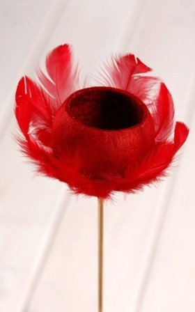 Bell cup on stick with feathers - red