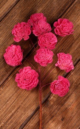 Belly 20-25 mm flowers on wire 15 pcs/pkg -pink