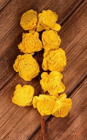 Belly 20-25 mm flowers on wire 15pcs/pkg -yellow