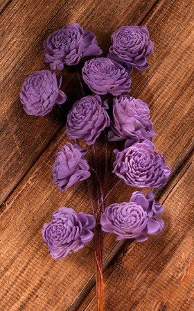 Belly 20-25mm flowers on wire 15pcs/pkg -purple