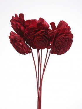 Belly flowers, 8 cm, 6 pcs/pkg - red on stick