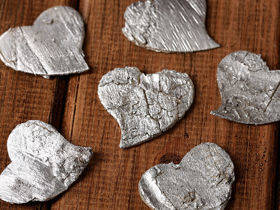 Birch hearts, 3-4 cm, 12 pcs/pkg, silver