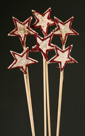 Birch stars on stick, 6 pcs/pkg, red