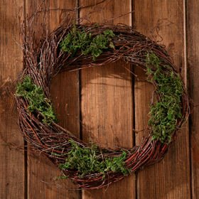 Birchen wreath wrapped in artificial plant ca.25cm