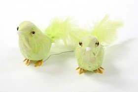 Bird made of feathers on wire, green