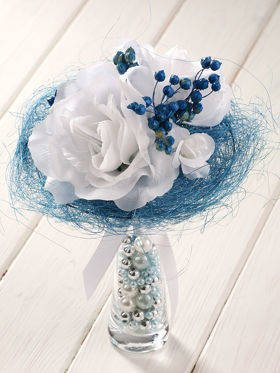 Blue durable bouquet in a glass dish with pearls 20-25 cm