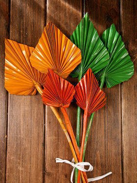 Bunch of dry palm leaves - green,orange