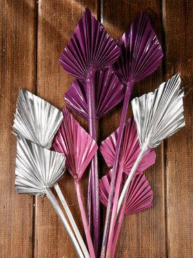 Bunch of dry palm leaves - silver, purple, pink
