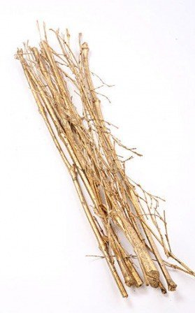 Bunch of gold glittered sticks and branches, 10 pcs/pkg, 10 cm