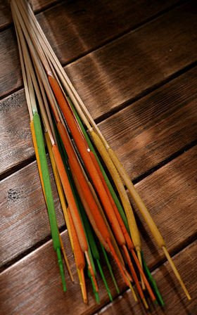 Bunch of water sticks, yellow-green-orange