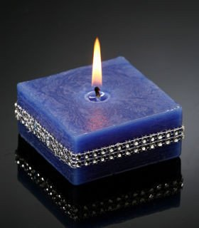 Candle with diamonds navy blue 80 / 80 mm
