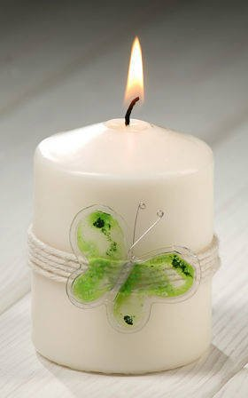 Candle with green butterfly 55 / 80mm