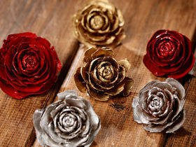 Cedar Wood Roses 12pcs./pack heads gold,silver,claret