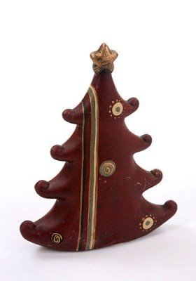 Ceramic Christmas tree, claret, 21 cm