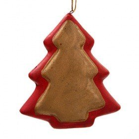 Ceramic Christmas tree- hangers, 6 pcs, 7 cm, in woody box