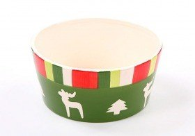 Ceramic flower pot: fawns with Christmas trees 8/17 cm