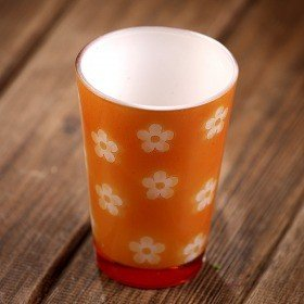 Ceramic glass- vase in pattern of flowers 7.5/11cm orange
