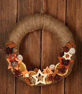 Christmas Wreath, cream-brown ca. 30 cm