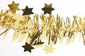 Christmas chain with stars, gold, length 2.7 m