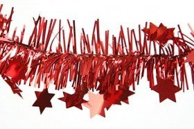 Christmas chain with stars, red, length 2.7 m