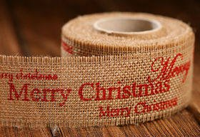 Christmas ribbon red Merry Christmas 4 cm / 3 yd