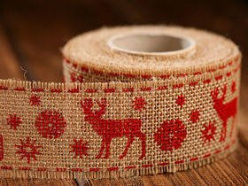 Christmas ribbon red Reindeer 4 cm / 3 yd