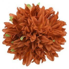 Chrysanthemum head, 16.5 cm - 12 pcs/pkg  - light brown
