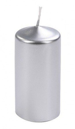Cylinder candle 60/80 mm metalic silver