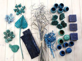Decorative extra large set, more than 50 ingredients, light blue-azure
