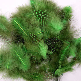 Decorative green spotted feathers  - ca.200pcs