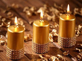 Diamond gold candle 60/80 mm