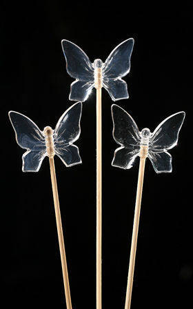 Diamond-like butterflies on sticks 6pcs/pkg 4/20cm