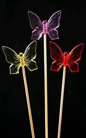 Diamond-like colourful butterflies on sticks 6pcs/pkg 4/20cm