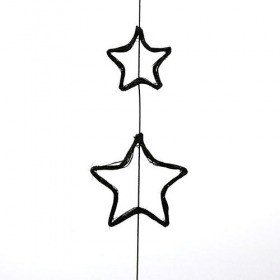 Double star on stick black 70 cm