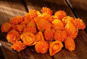 Dried flowers, 2-3 cm, ca. 60 pcs/pkg orange