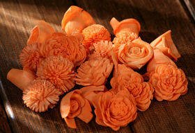 Dried flowers, 2-3 cm, ca. 60 pcs/pkg peachy