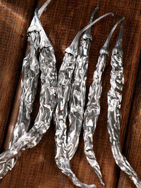 Dried peppers 6/pkg  14-18 cm - silver-plate