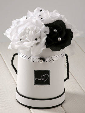 FLOWERBOX with flowers 24x24x24 cm, white-black
