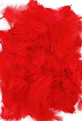 Feathers ca. 200 pcs - red
