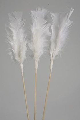 Feathers on stick (3 pcs) 34 cm, white