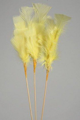 Feathers on stick (3 pcs) 34 cm, yellow