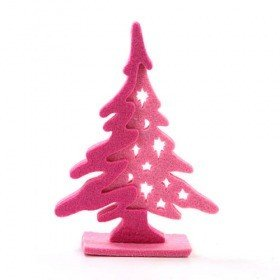 Felt Christmas tree, pink, 15 cm
