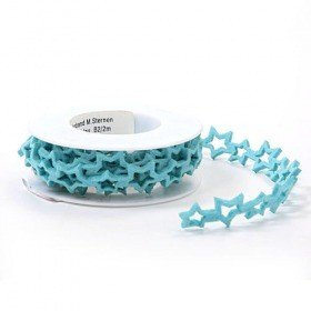 Felt garland on spool - stars, azure, 2,5 cm, 200 cm